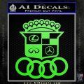 Audi Infinity Lexus Mercedes Cadillac BMW Decal Sticker Mashup Lime Green Vinyl 120x120