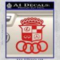 Audi Infinity Lexus Mercedes Cadillac BMW Decal Sticker Mashup Red Vinyl 120x120