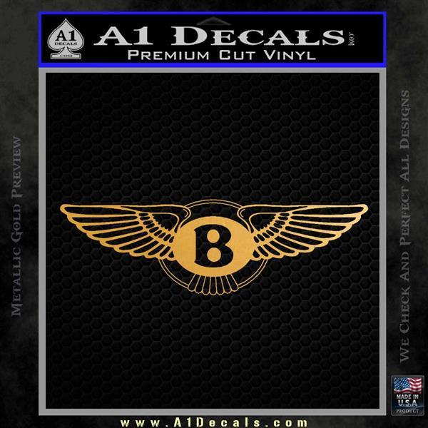 Bentley auto Logo RDZ Decal Sticker Metallic Gold Vinyl