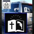 Bible Gun Logo Decal Sticker White Emblem 120x120