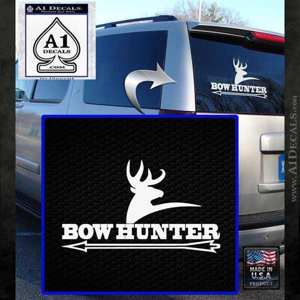 Bow Hunter Archer Decal Sticker Stacked White Emblem
