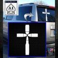 Bullet Cross Crucifix Decal Sticker D4 White Emblem 120x120