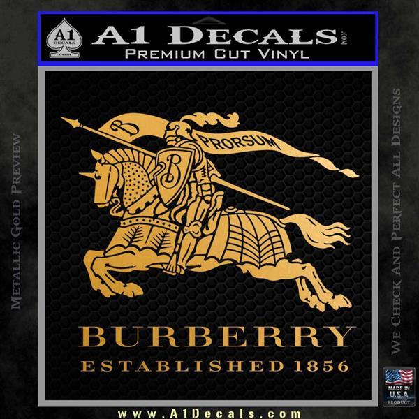 Burberry Logo Decal Sticker Metallic Gold Vinyl