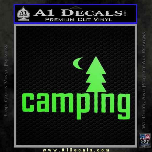 CAMPING VINYL DECAL STICKER Lime Green Vinyl