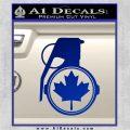 Canada Maple Leaf Grenade Decal Sticker Blue Vinyl 120x120