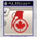 Canada Maple Leaf Grenade Decal Sticker Red Vinyl 120x120