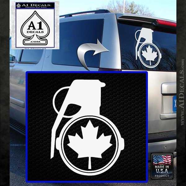Canada Maple Leaf Grenade Decal Sticker White Emblem