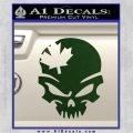 Canada Skull Decal Sticker Dark Green Vinyl 120x120