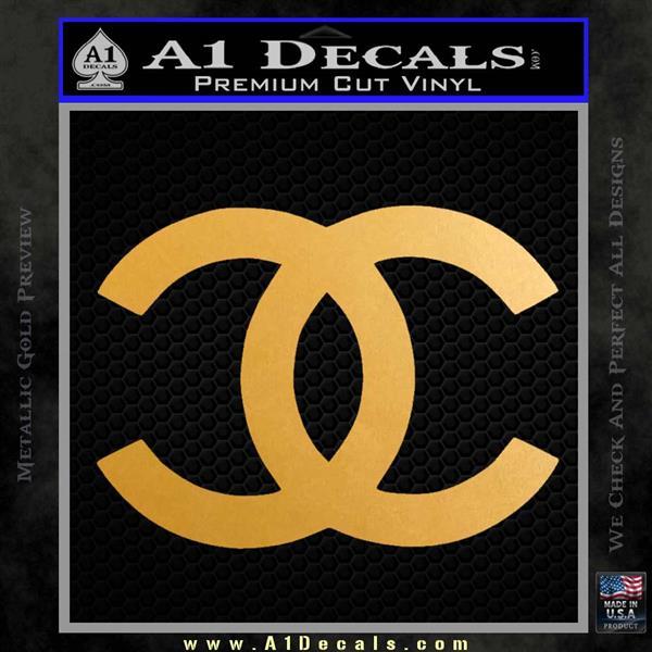 4b5ce1ffc8d160 Chanel Decal Sticker CC Metallic Gold Vinyl