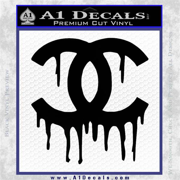 Chanel dripping decal sticker black logo emblem 120x120