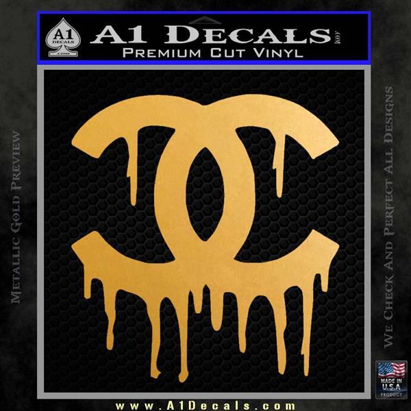 Chanel Dripping Decal Sticker Metallic Gold Vinyl