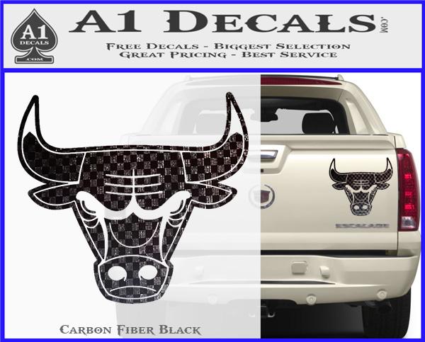 Chicago bulls decal sticker do carbon fiber black 120x97