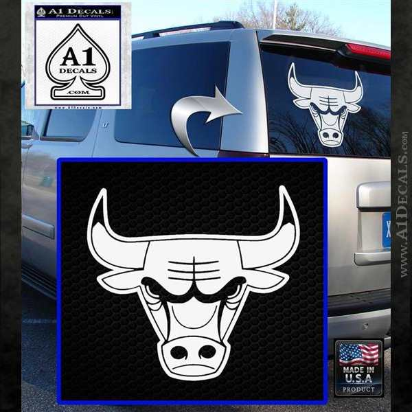 Chicago bulls decal sticker do white emblem