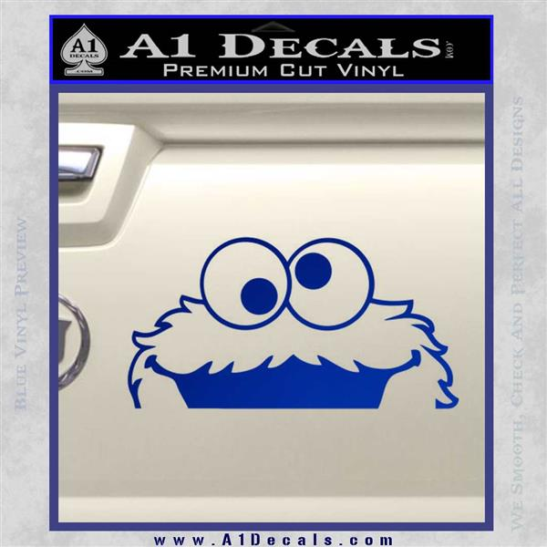 Cookie Monster Peeking Decal Sticker Blue Vinyl