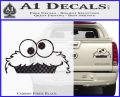 Cookie Monster Peeking Decal Sticker Carbon Fiber Black 120x97