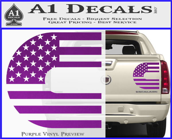 Cummins American Flag Decal Sticker Purple Vinyl 120x97