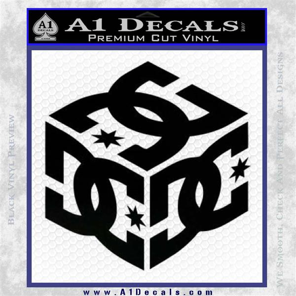 Dc shoes logo 3d decal sticker black logo emblem