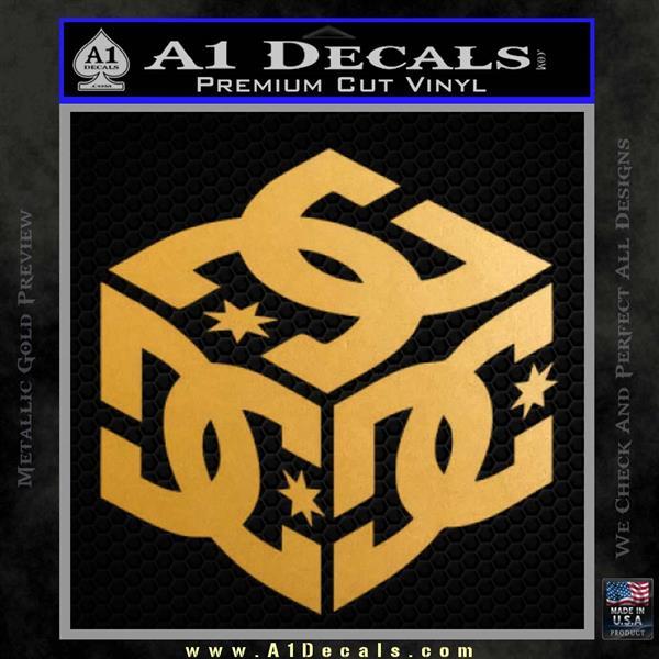... DC Shoes Logo 3D Decal Sticker Metallic Gold Vinyl 120x120 ...