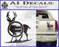 Deer In Bow Sights Decal Sticker Carbon Fiber Black 120x97