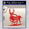 Deer In Bow Sights Decal Sticker Red Vinyl 120x120