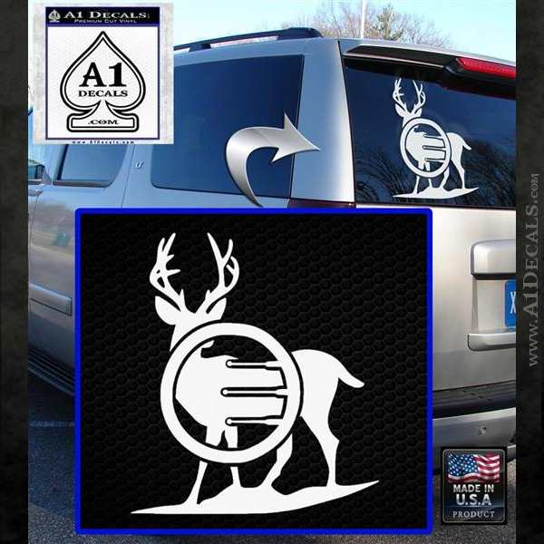 Deer In Bow Sights Decal Sticker White Emblem