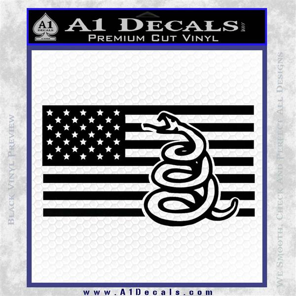 Dont Tread On Me Gadsden Snake American Flag Decal Sticker