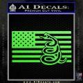 Dont Tread On Me Gadsden Snake American Flag Decal Sticker Lime Green Vinyl 120x120