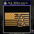 Dont Tread On Me Gadsden Snake American Flag Decal Sticker Metallic Gold Vinyl 120x120