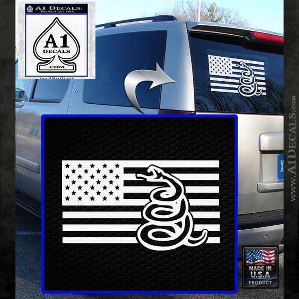 Dont Tread On Me Gadsden Snake American Flag Decal Sticker White Emblem
