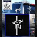 Draped Cross Crucifix D1 Decal Sticker White Emblem 120x120