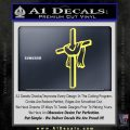 Draped Cross Crucifix D1 Decal Sticker Yelllow Vinyl 120x120