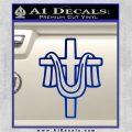 Draped Cross Crucifix D2 Decal Sticker Blue Vinyl 120x120