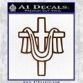 Draped Cross Crucifix D2 Decal Sticker Brown Vinyl 120x120
