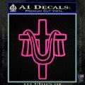 Draped Cross Crucifix D2 Decal Sticker Hot Pink Vinyl 120x120