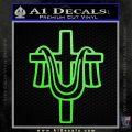 Draped Cross Crucifix D2 Decal Sticker Lime Green Vinyl 120x120