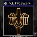 Draped Cross Crucifix D2 Decal Sticker Metallic Gold Vinyl 120x120