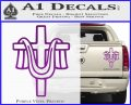 Draped Cross Crucifix D2 Decal Sticker Purple Vinyl 120x97
