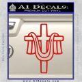 Draped Cross Crucifix D2 Decal Sticker Red Vinyl 120x120