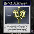 Draped Cross Crucifix D2 Decal Sticker Yelllow Vinyl 120x120