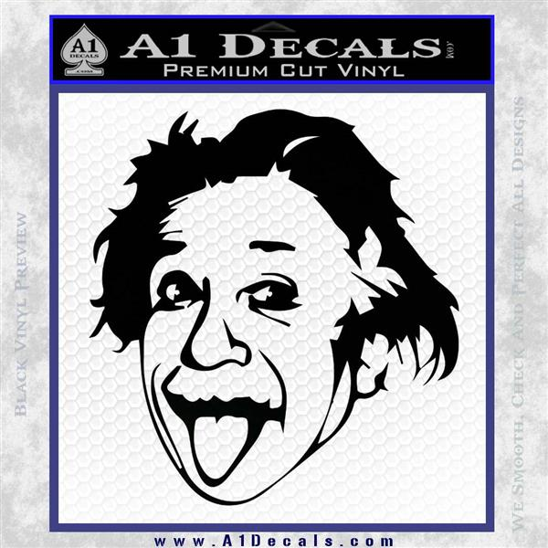 Einstein Sticking Tongue Out Decal Sticker Black Logo Emblem