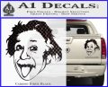 Einstein Sticking Tongue Out Decal Sticker Carbon Fiber Black 120x97