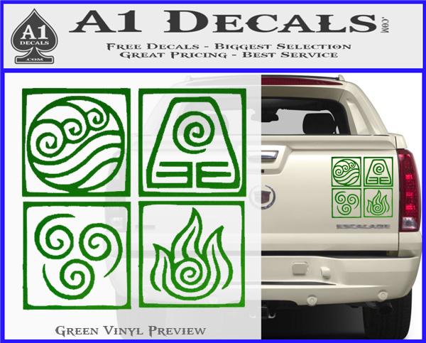 EARTH KINGDOM AVATAR SYMBOL GREEN VINYL CAR WINDOW DECAL STICKER