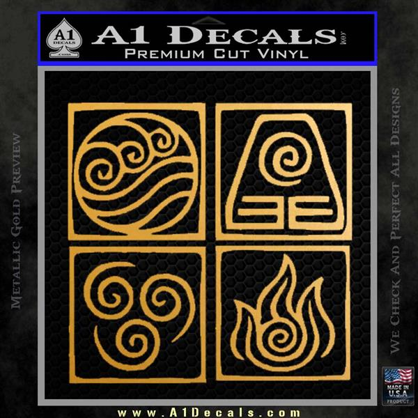 Elements Avatar The Last Airbender Vinyl Decal Metallic Gold Vinyl