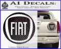 Fiat Logo CR Decal Sticker Carbon Fiber Black 120x97
