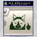 GRUMPY CAT MIDDLE FINGER VINYL DECAL STICKER Dark Green Vinyl 120x120