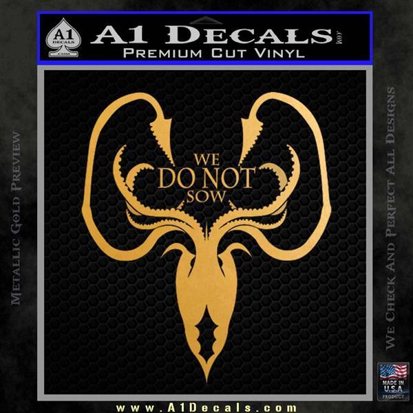 Game of Thrones House Grey Joy Metallic Gold Vinyl