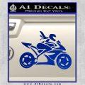Girl Motorcycle Racing Vinyl Decal Sticker Blue Vinyl 120x120