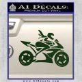 Girl Motorcycle Racing Vinyl Decal Sticker Dark Green Vinyl 120x120