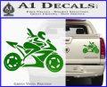 Girl Motorcycle Racing Vinyl Decal Sticker Green Vinyl 120x97