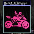 Girl Motorcycle Racing Vinyl Decal Sticker Hot Pink Vinyl 120x120